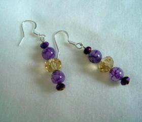 Amethyst Swarovski Earrings Dragon Vein Sterling Silver Purple Gold Chandelier
