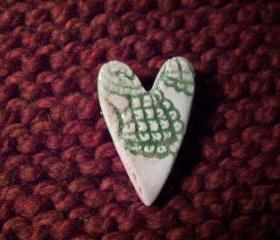 Green Ceramic heart Pin