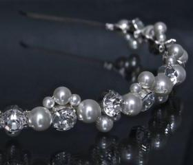 Pearl Headband / Diamante Stones and Pearls, Wedding Hair Accessories - Rhinestone Headband with Ivory Pearls