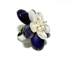 Pearl Flower Adjustable Ring - Purple Agate and Pearl Ring - Mother of Pearl and Fresh