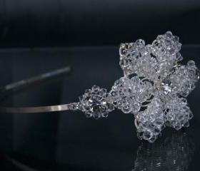 Side Tiara, Wedding Headband, Bridal Hair Accessories - Silver Diamante (Rhinestone) and Swarovski Crystal Flower
