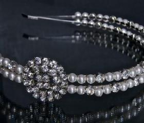 Side Tiara / Wedding Headband - Bridal Hair Accessories - Double Band Pearl and Diamante / Rhinestone