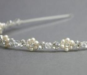 Pearl Flower Headband, Swarovski Pearls and Clear Rhinestones, Bridesmaids headband Wedding