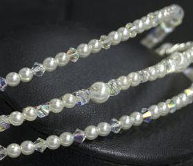Wedding Headband, Bridal Headbands - Hair Accessory - 3 Row of Swarovski Crystal and Ivory Pearls, Wedding Hair Accessories