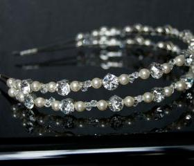 Wedding Hair Accessories - Wedding Headband - Silver Rhinestone, Swarovski Crystal and Pearls