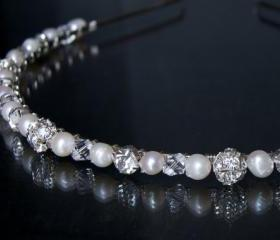 Wedding Headband - Diamante, Crystal and Pearl, Bridal, Bridesmaid