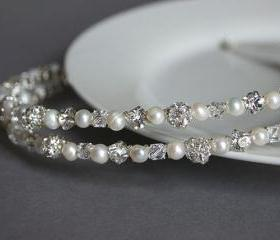 Wedding Hair Accessories - Wedding Headband - Double band Diamante, Crystal and Pearl, Bridal, Bridesmaid