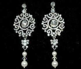 Bridal Wedding Pearl Earrings Vintage Style Chandelier Earrings - Art Deco Style