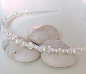 Bridal Headband, Wedding Headbands - Swarovski Crystal and Ivory Pearls, Wedding Hair Accessories