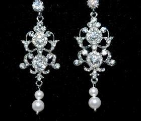 SALE Vintage Style Bridal Earrings - Art Deco Style Rhinestone Earrigs - Wedding