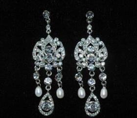 Wedding Bridal Earrings Vintage Style - Art Deco Style Rhinestone Earrigs - Wedding Earrings