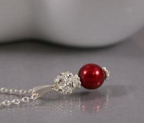 Red Pendant - Pearl and Rhinestone Crystal Bridesmaid Jewelry - Red Wedding Jewellery