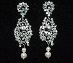 Bridal Wedding Earrings - Vintage Style Rhinestone Earrigs - Wedding Rhinestone Earrings