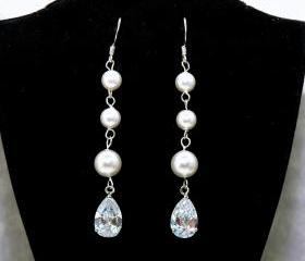Wedding Bridal Earrings with swarovski Pearls and Cubic Zirconia - Wedding Earrings