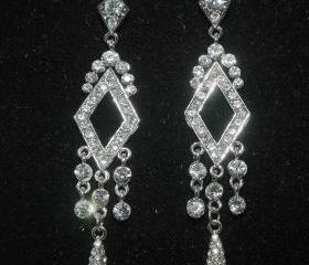 Bridal Rhinestone Earrings Art Deco Style - Wedding Rhinestone Chandelier Bridal Earrings -