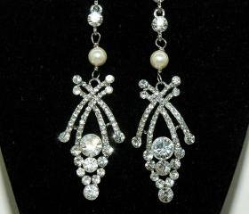 Wedding Bridal Art Deco Crystal Earrings - Bridal Wedding Pearl Earrings - Swarovski Crystal Earrings