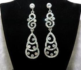 Crystal Wedding Rhinestone Earrings - Fashion Jewelry - Wedding Dangle Earrings - Bridesmaids Earrings