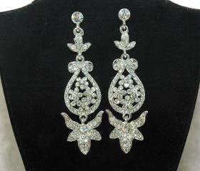 Bridal Rhinestone Silver Chandelier Earrings - Bridal Wedding Bridesmaids Dangle Earrings