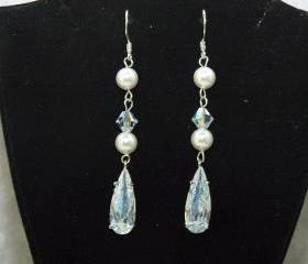  Pearl Earrings with Cubic Zirconia - Wedding Earrings - Pearl Dangle Earrings