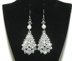 Rhinestones Teardrop Wedding Earrings - Rhinestone Wedding Earrings - Pearl Dangle Diamante J