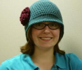 Teal Cloche Hat with Burgundy Rose