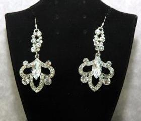 Wedding Rhinestone Silver Earrings - Bridal Chandelier Crystal Earrings - Wedding Swarovski Earrings