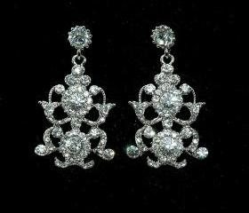 Wedding Swarovski Crystal Bridal Earrings - Art Deco Style Rhinestone Earrings - Vintage Style We