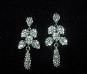 Bridal Leaf Crystal Earrings - Bridal Wedding Rhinestone Earrings -Fashion Jewelry
