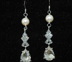 Pearl Teardrop Earrings - Bridal Wedding Rhinestone Dangle Earrings -Fashion Costume Jewelry - Diamante Earring