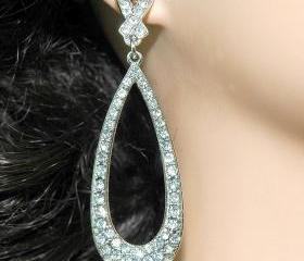Bridal Wedding Fashion Jewlery Earrings - Rhinestone Oval Wedding Dangle Bridal Earrings - Diamante Earrings