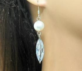Wedding Cubic Zirconia Bridal Dangle Pearl Earrings - Silver Dangle Earrings,Rhinestone Earrings