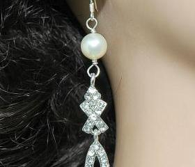 Wedding Bridal Pearl Earrings - Bridal Dangle Rhinestone Earrings - Diamante Earrings