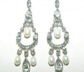 Bridal Wedding Vintage Inspired Earrings - Wedding Rhinestone Chandelier Bridal Earrings - Diamante Chand
