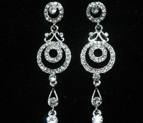Circle Bridal Dangle Crystal Earrings - Pearl Rhinestone Earrings -Dangle Swarovski Earrings