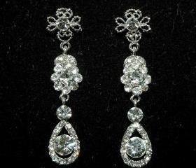 Crystal Dangle Bridal Earrings - Rhinestone Earrings - Wedding Jewellery - Weddi