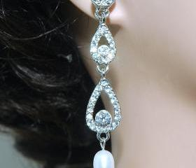 Wedding Dangle Crystal Pearl Earrings - Bridesmaids Rhinestone Earrings -Dangle S
