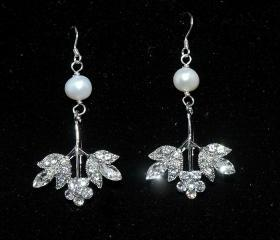 Wedding Bridal Rhinestone Earrings - Chandelier Crystal Earrings -Dangle Swarovski Earrings