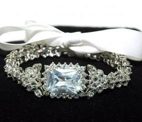 Art Deco Bridal Bracelet - CZ Crystal Rhodium Plated Wedding Bracelet - Bride