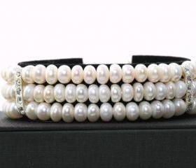 Wedding Pearl Bracelet - Bridal Bracelet Freshwater Button Pearl Bracelet - Wedding Jewellery -