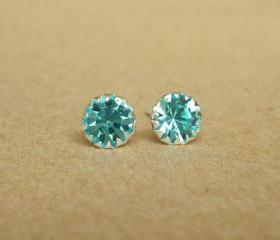 SALE - Aquamarine Blue CZ Round Ear Stud Earrings - 925 Sterling Silver Earrings - Gift under 10 - Aquamarine Blue Cubic Zirconia Ear Posts