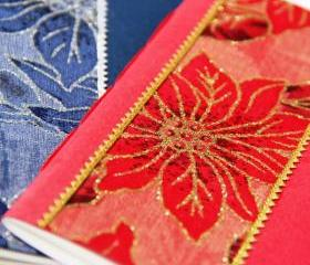 POINSETTIA - Handmade Christmas Holiday Mini Notebook - Set of 2 - Stocking Stuffer - A6 Size - Free Shipping