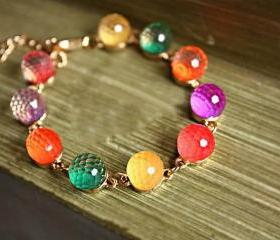Cute Retro colorful candy crystal beads with golden bracelet! Fashion in this season!