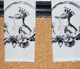 Taupe Natural Cotton hand towel or tea towel with black screen print with Crowned Bird