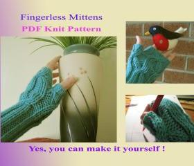 Knit Pattern - Fingerless mittens for women (30VC2012)