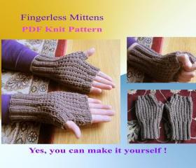 Knit Pattern - Fingerless mittens for men (31VC2012)