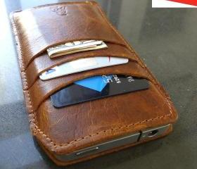 Java Genuine Leather Wallet Case for iPhone 5