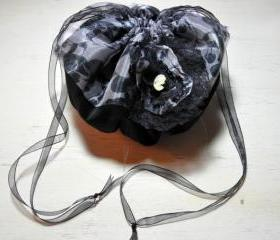 Handmade Fantasy Black Velvet and Skull Halloween, Gothic, Victorian, Steampunk Drawstring Pouch Purse