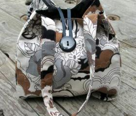 Handmade Fantasy Black, Brown, And Tan Mod Designer Print Handbag, Evening Purse with Beaded Tassel