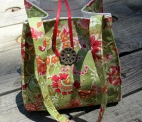 Small Fantasy Multi-Colored Asian floral Motif Artist Print 'Noriko' Handbag, Evening Purse With Beaded Ribbon Tassle