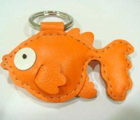 Goldfish Leather Keychain ( Orange )